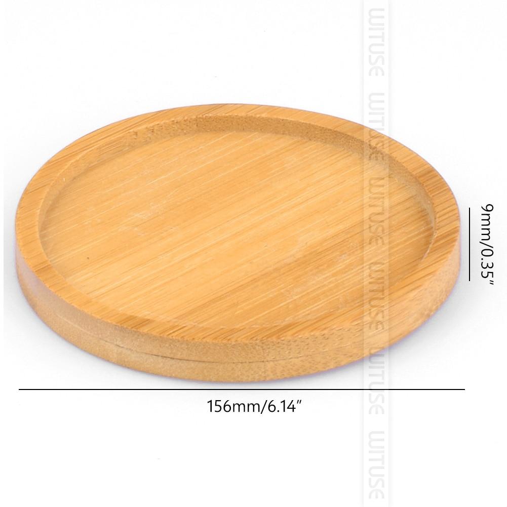 WITUSE бамбуковые круглые квадратные чаши тарелки для суккулентов горшки лотки база стоячий садовый Декор украшение дома ремесла 12 видов - Цвет: round