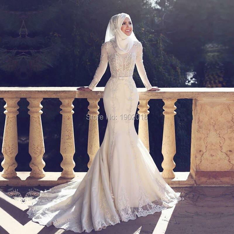 05a58eae90a Dernières manches longues robe de mariage turc islamique Hijab sirène  musulman robes de mariée 2016 dentelle Appliques Saoudite mariée robes ...