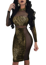 2018 Sexy Women Metallic Sequin Dress Sheer Mesh Long Sleeve High Neck  Bodycon Party Club Midi Dresses New Gold Female vestidos b18df791ed98