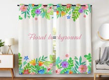 Darkening Blackout Curtains 2 Panels Grommet for Childrens Bedroom Cute Colorful Wildflowers Green Leaves Girl