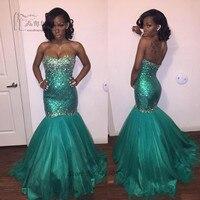 Green African Prom Dresses Mermaid Sparky Sequin Formal Evening Gowns Rhinestone Vestido de Noche Abendkleider 2016 Women Courte