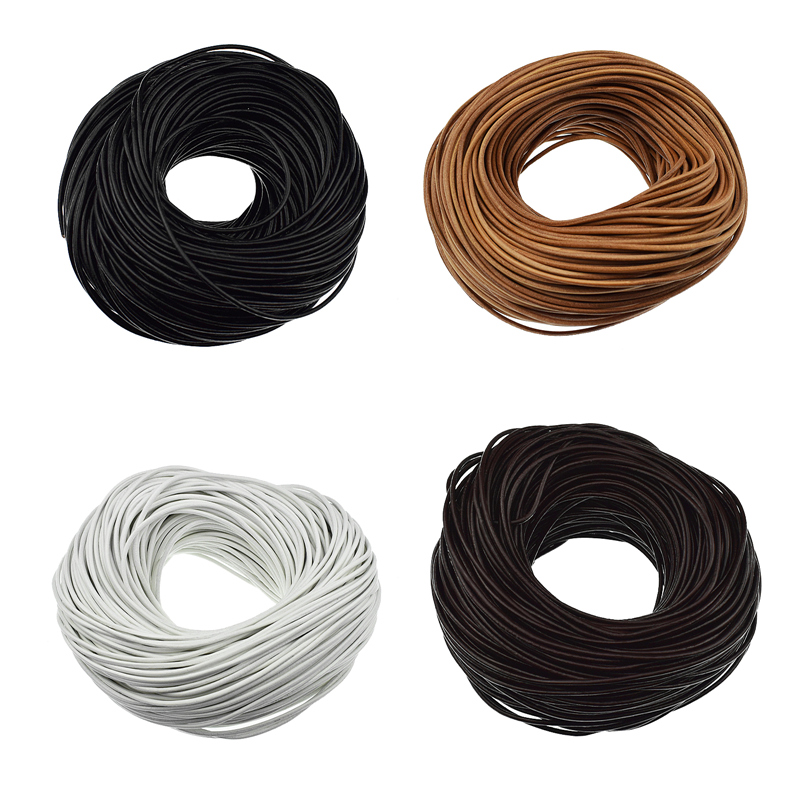 ARRICRAFT 10m Round Leather Cord 2mm Cowhide Jewelry Making Material for DIY Bracelet Necklace Making