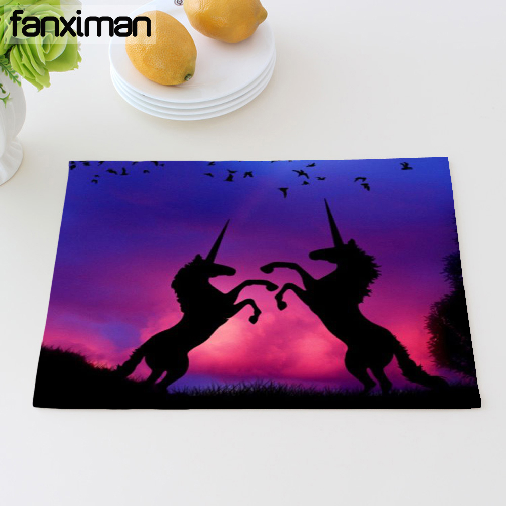 2018 Home Fashion Unicorn Print Linen Table Mat Dining Napkins For Kitchen Heat Insulation Place Mats Coasters 42*32 CM