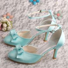 Bride Collections Women's Evening Party Round Toes High Heel Satin Buckle Bridal Shoes Mint Green
