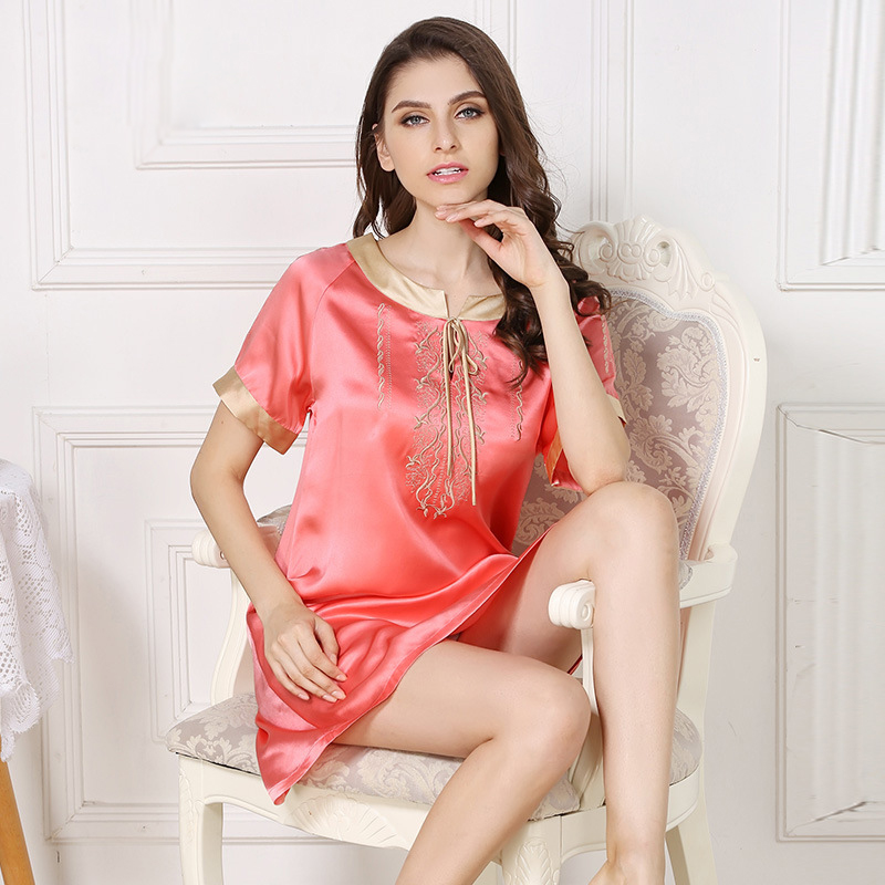 Sexy summer 100 silk sleepdress for woman Candy color short sleeve sexy nightdress noble silk nighshirts