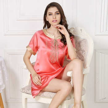 Sexy summer 100% silk sleepdress for woman Candy color short sleeve sexy nightdress noble silk nighshirts sleepdress for women - DISCOUNT ITEM  12% OFF All Category