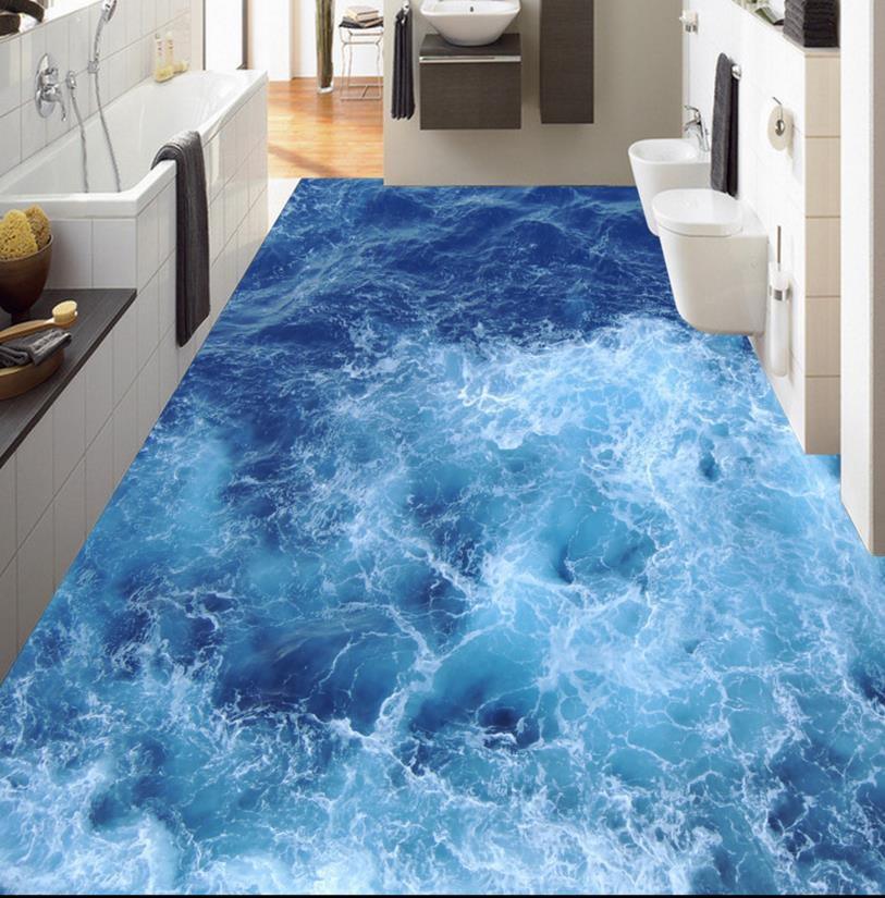3D flooring kitchen waterproof europe blue sea waves vinyl flooring ...