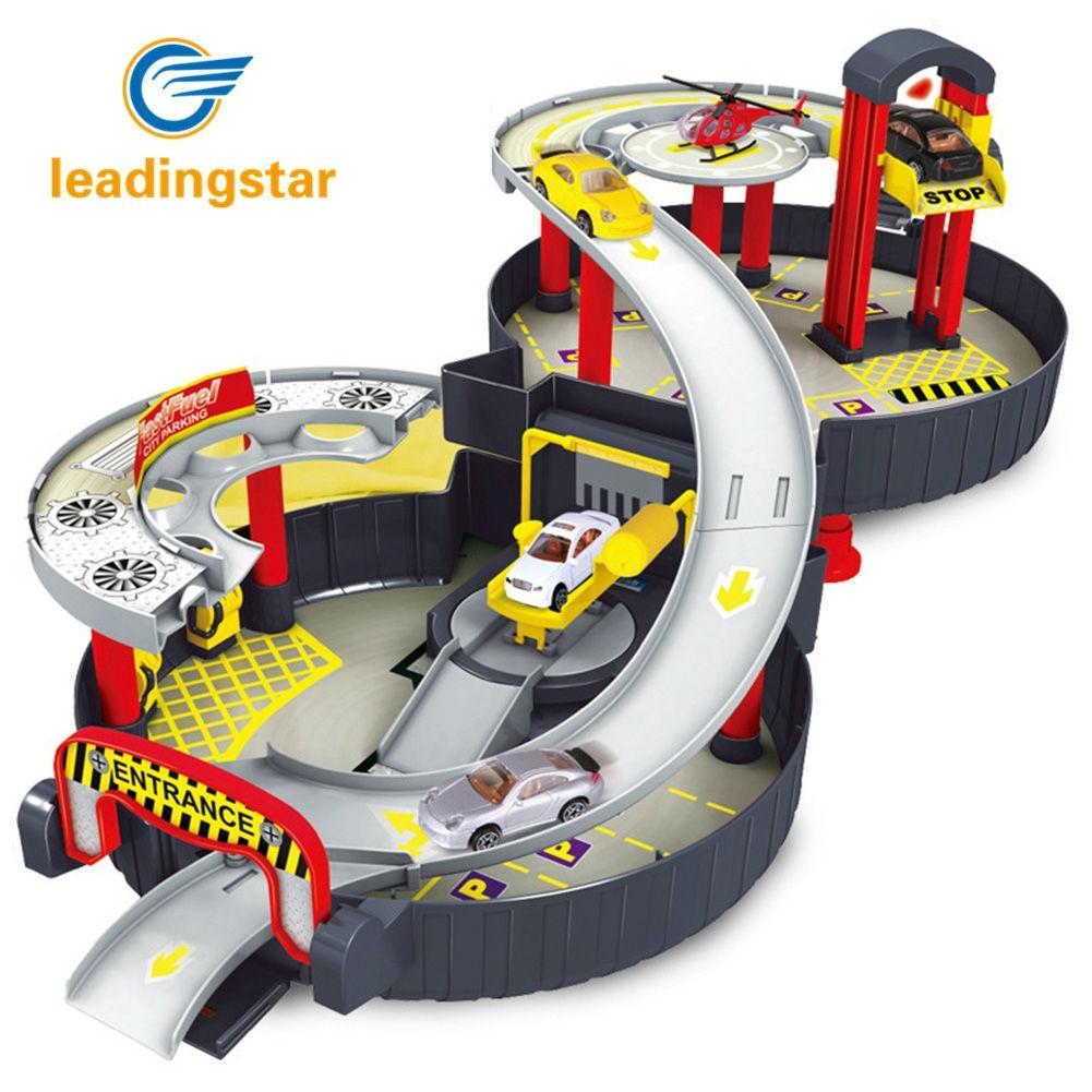 LeadingStar Spirale Rouleau Rail Alliage Véhicules Enfants Ville Parking Garage Jouet Ville Voiture Camion Véhicule Auto 2 Étages Jouer Ensemble pneu Ca