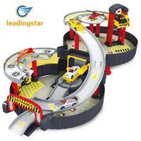 LeadingStar Espiral Roller Rail Aleación Vehículos de Niños Ciudad Garaje Juguete la ciudad de Carro Del Coche Del Vehículo Auto 2 Pisos Juego Juego de Neumáticos de Ca