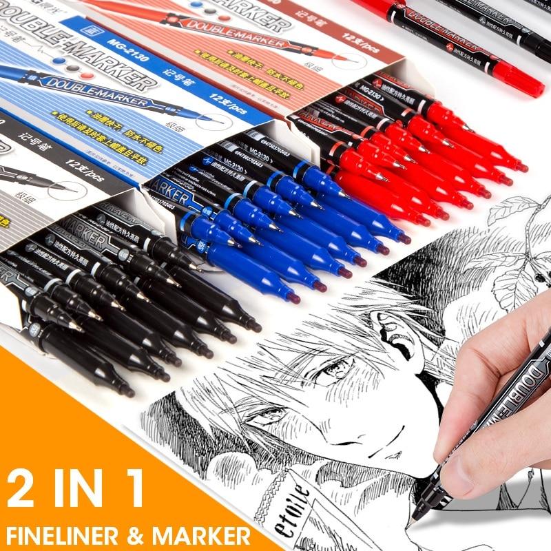 M&G Waterproof 12pcs/box Double Tips Permanent Marker Pen Andstal Fineliner Marker Oil Art CD Glass Black Blue Red Markers