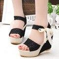 Tamanho 35-39 Mulheres Sandálias de Verão 2017 Novo Do Dedo Do Pé Aberto Peixe cabeça plataforma de Moda de Salto Alto Sandálias de Cunha sapatos femininos das mulheres sapatos