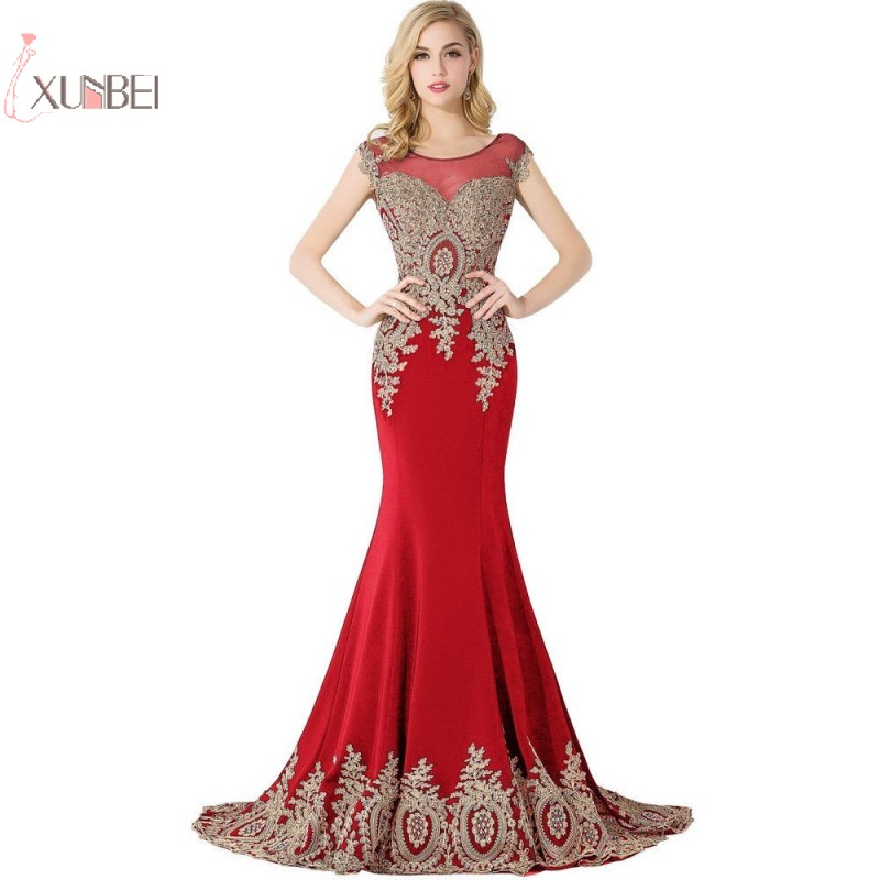Xunbei Prom Dresses 2019 Mermaid Long Prom Gown Gold Lace Applique Vestidos De Gala
