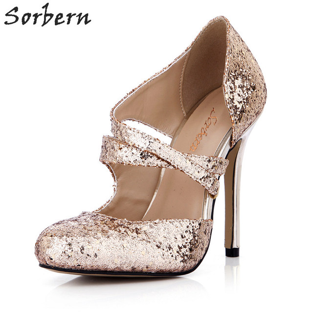 Sorbern Rose Gold Blingbling Sequins Party Shoes High Heels Women Evening Shoes Gold High Heels New Arrival Bride Shoes 2019