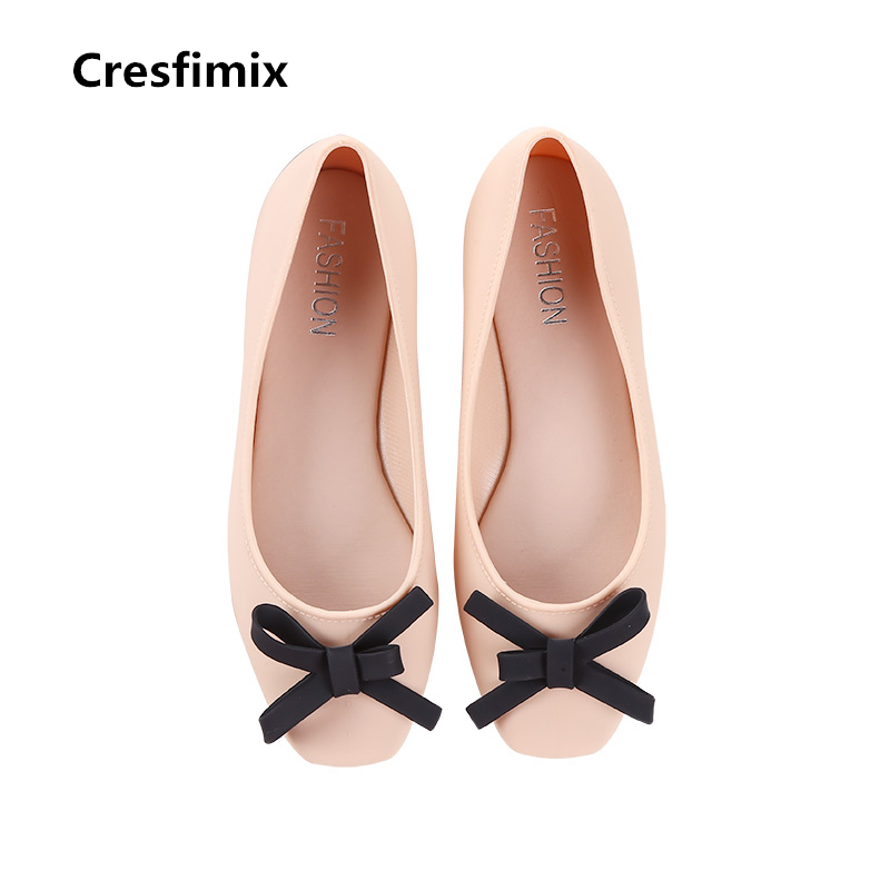 Cresfimix women pink bow tie anti skid flat shoes female comfortable slip on summer shoes lady cute waterproof shoes sapatos cresfimix women cute spring and summer slip on flats sapatos femininas female black soft pu leather comfortable flat shoes