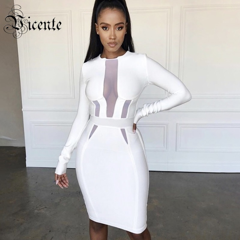 Vicente All Free Shipping 2019 New Chic White Dress Long Sleeves Mesh Splicing Design Knee Length