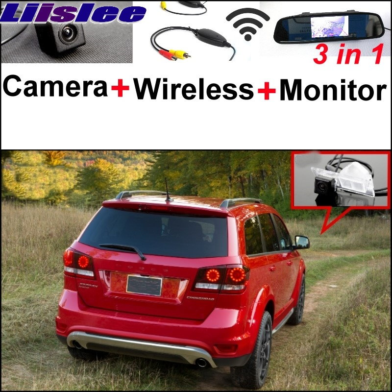 Liilsee 3 in1 Special Camera + Wireless Receiver + Mirror Monitor EASY DIY Parking System For Dodge Journey  JC  JCUV 2008~2015 wireless pager system 433 92mhz wireless restaurant table buzzer with monitor and watch receiver 3 display 42 call button