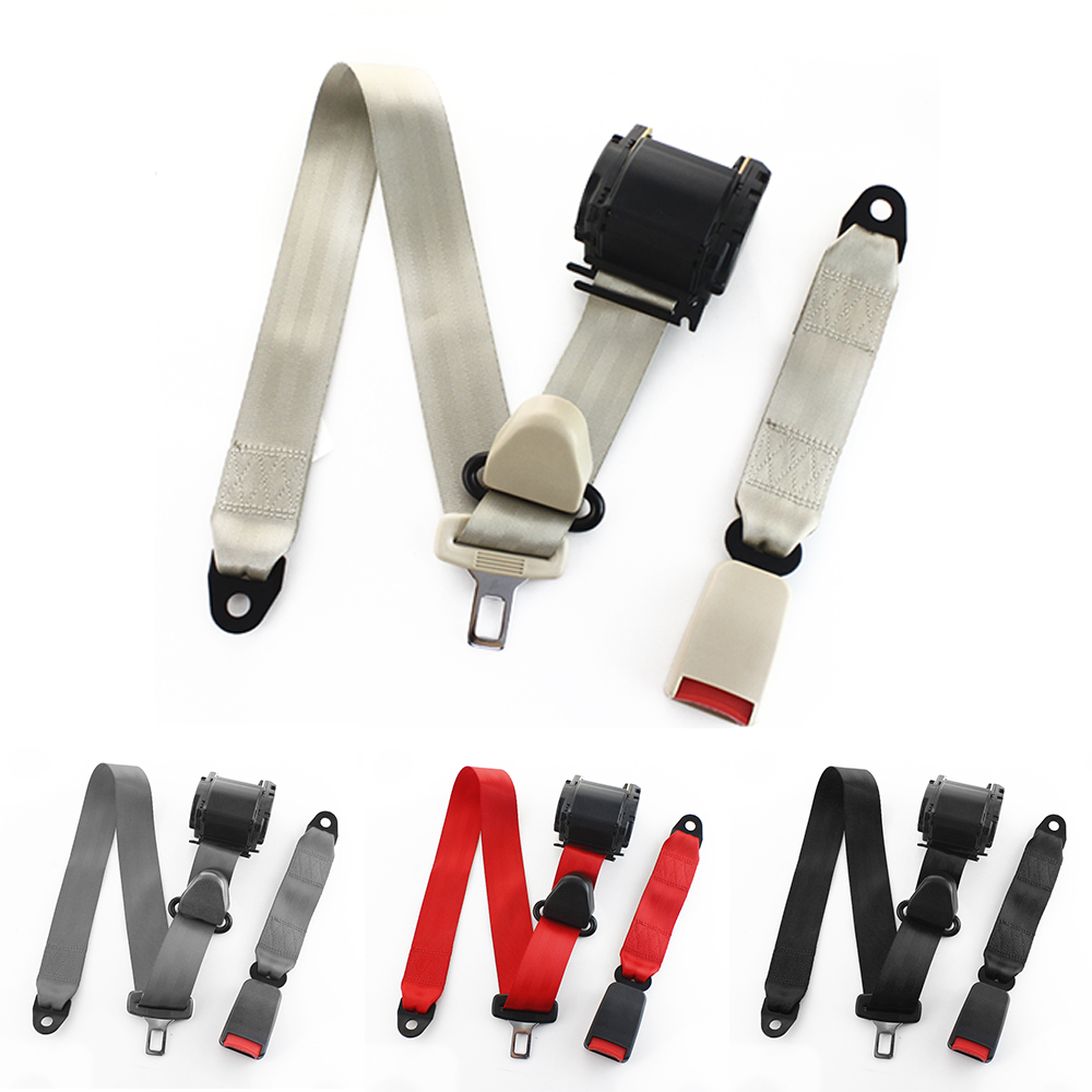 Tres punto cinturón ajustable tejido de poliéster coche vehículo camión de vuelta extensor de extensión Correa cinturones de seguridad negro rojo