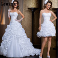 Vestido De Noiva 2 em 1 Lace Strapless Ruffles Wedding Dresses Removable Skirt Long Beads Bridal Dresses