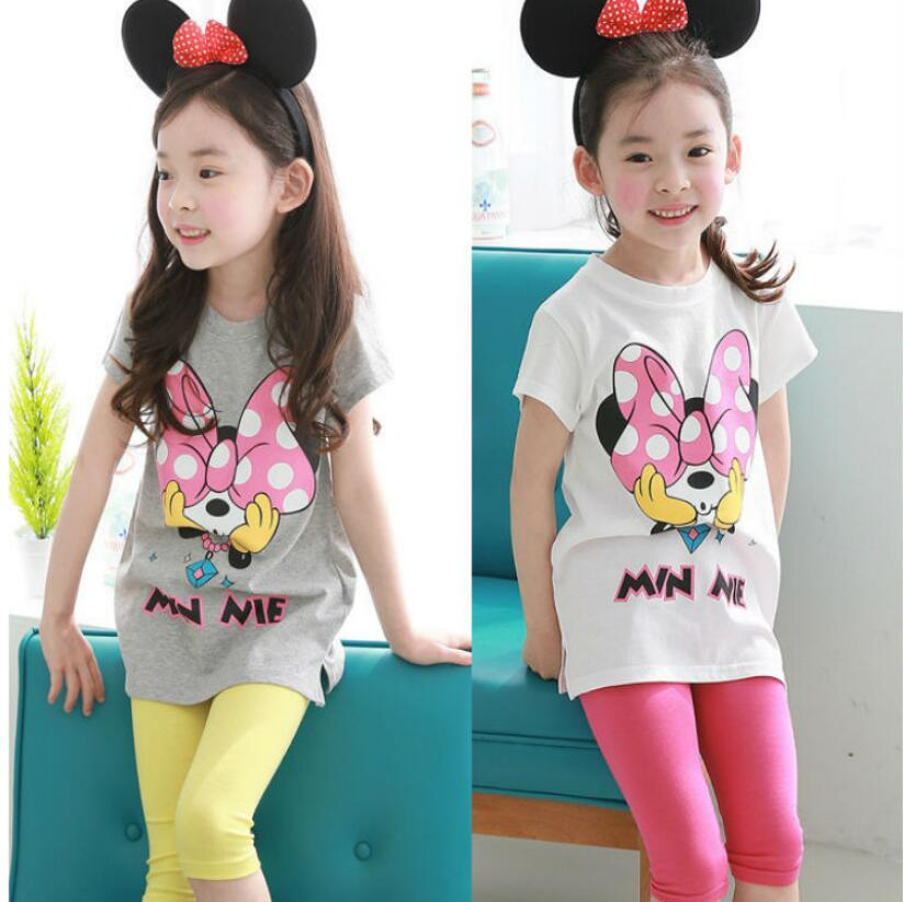 Summer season Child Women Mouse Cartoon Minnie Garments Set Swimsuit Kids Clothes Brief Sleeve T-Shirt Pants Headband Tracksuits Garments