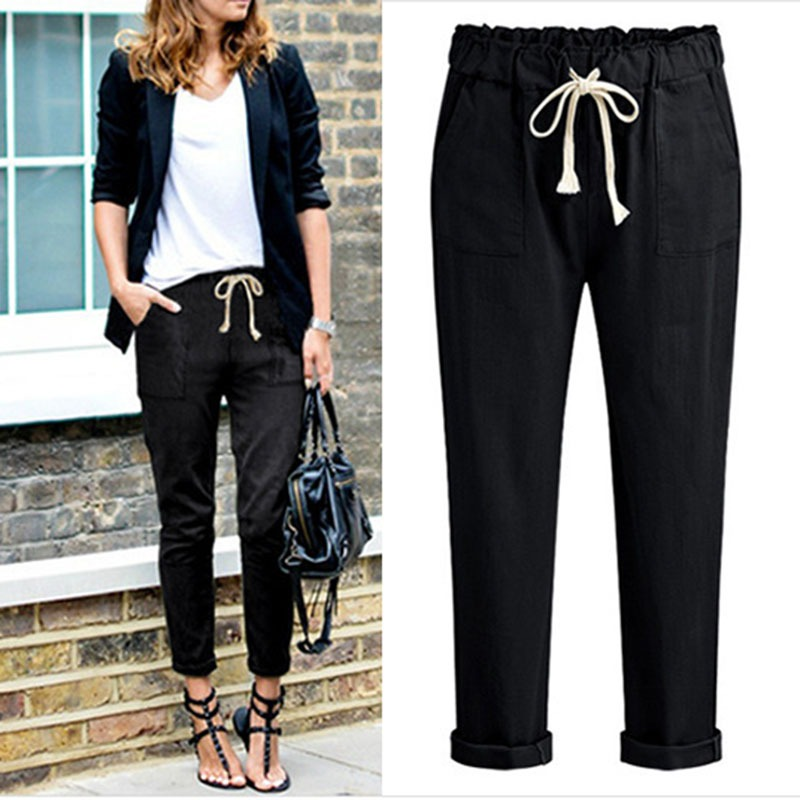 2018 High Waist Elastic Harem Pants Women Casual OL Lady Pocket Lace Up Ankle-length Befree Trouser Pantalon Femme Black Grey