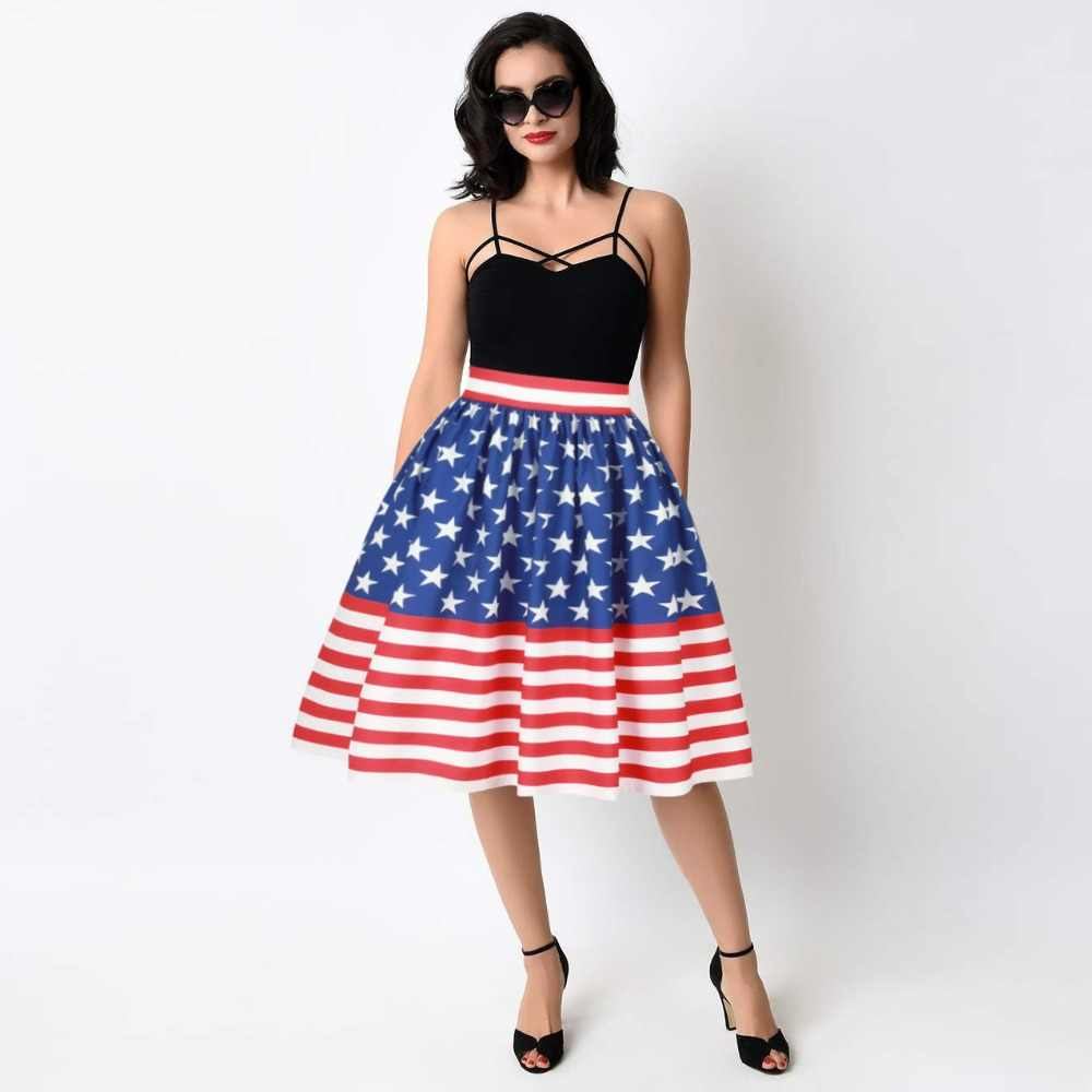Американский национальный флаг печати плиссированные юбки лето Для женщин синего цвета со звездами в полоску Высокая талия по колено приталенное юбки Saias миди
