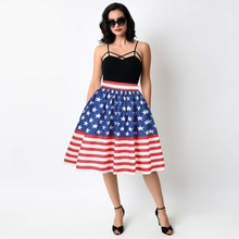 67d5b63302a942 American National Flag Print Pleated Skirt Summer Women Blue Stars Striped  High Waist Knee Length Skater