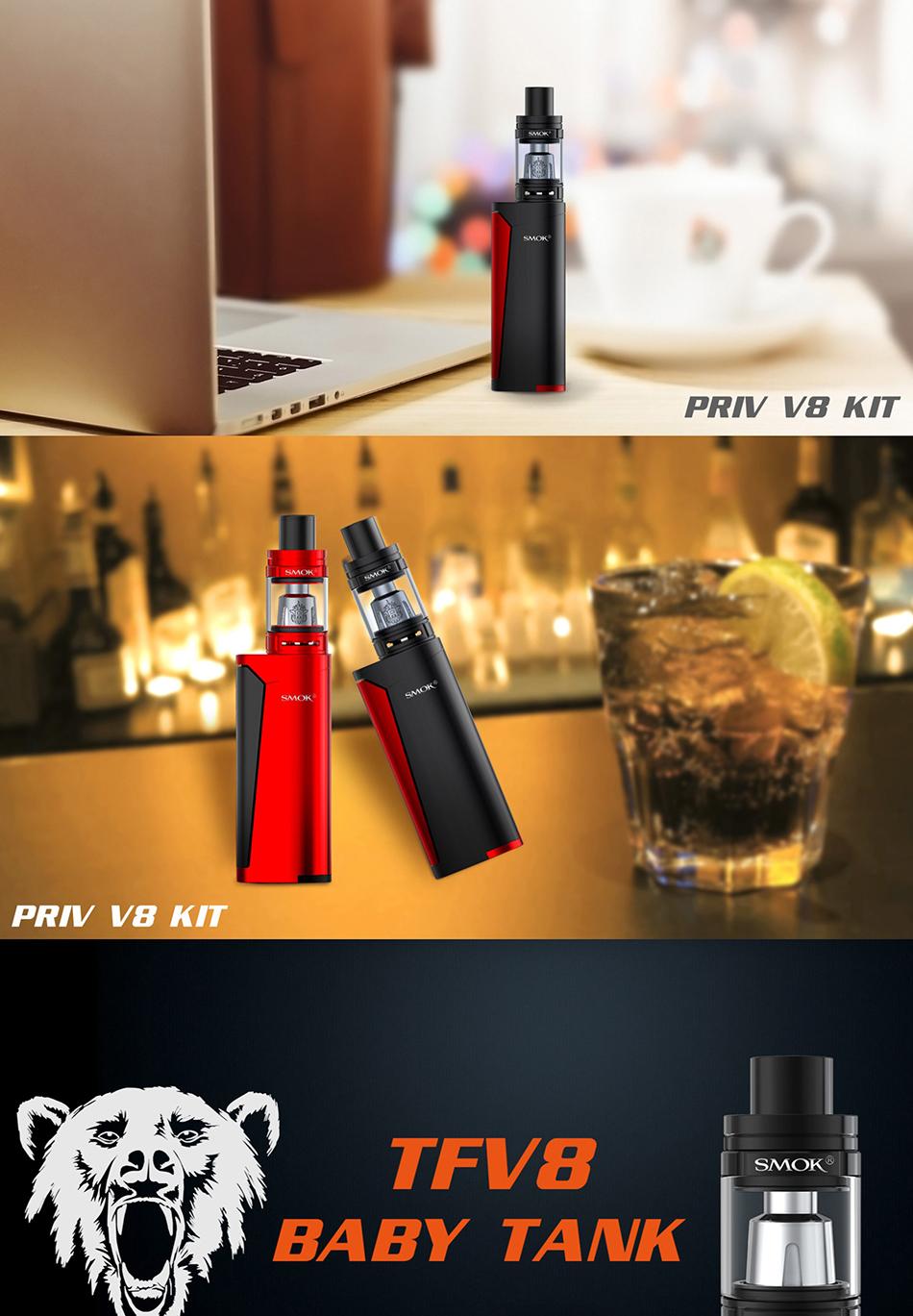 , 100% Original SMOK Priv V8 Vape Kit with 3ml TFV8 Baby Tank & M2 0.25ohm Dual Coils 60W Priv V8 Kit VS Smok Alien/Smok T-priv
