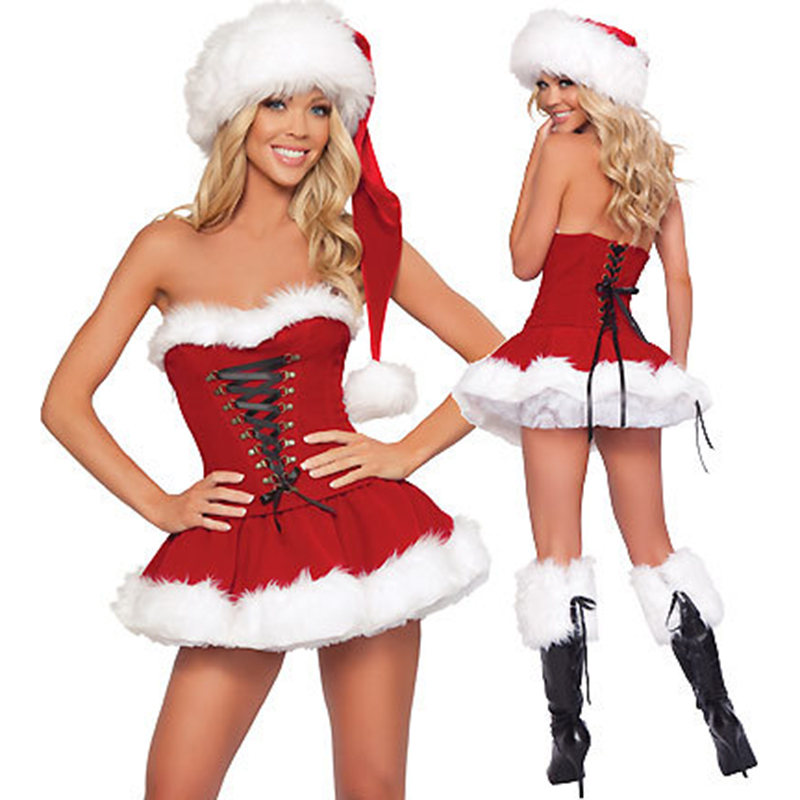 New Arrive! Classical Women Strapless Sexy Christmas Costumes Adult women Santa Claus Costumes for Holiday Party Dress
