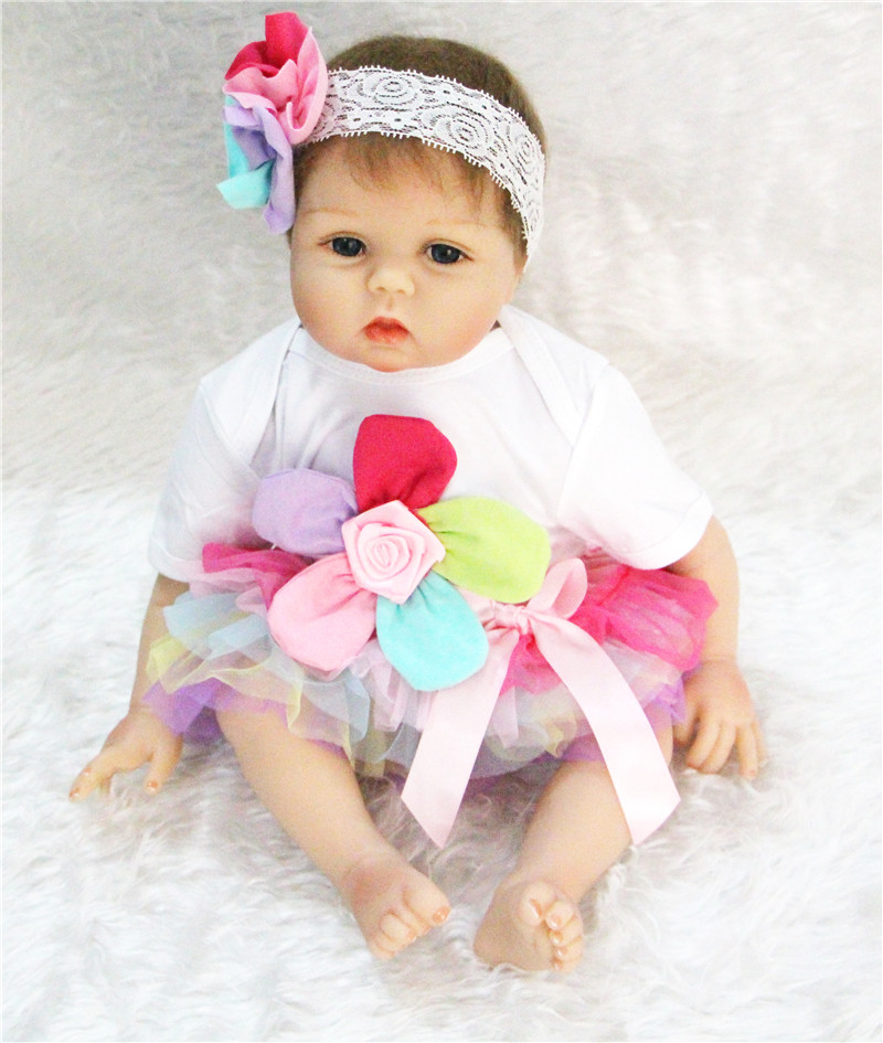 "Lovely Girl doll reborn  22""  silicone reborn babies soft cotton body children girls doll toys bebe gift bonecas reborn"