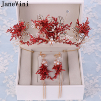 JaneVini Luxury Beaded Wedding Crowns and Earrings Set Bridal Jewelry Wedding Tiaras Diadem Red Princess Crowns Hair Accessories