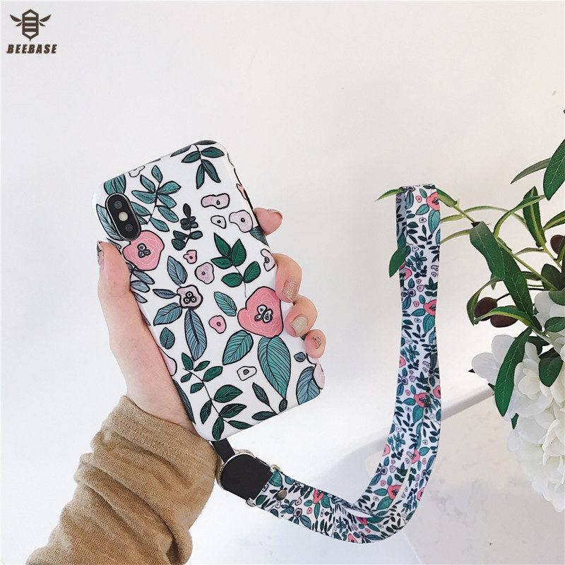 For iphone 7 case for iphone 8 case for iphone X case With Phone Straps Glossy soft case for iphone 6 6s plus XR XS Max cover