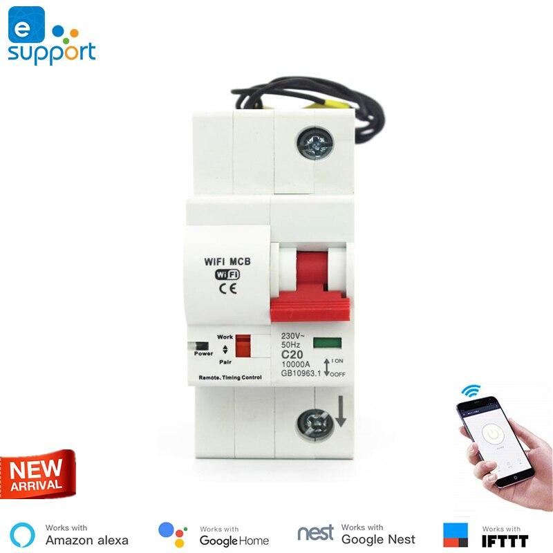 eWeLink WiFi 1P Smart Circuit Breaker for smart home overload short circuit protection work with Amazon