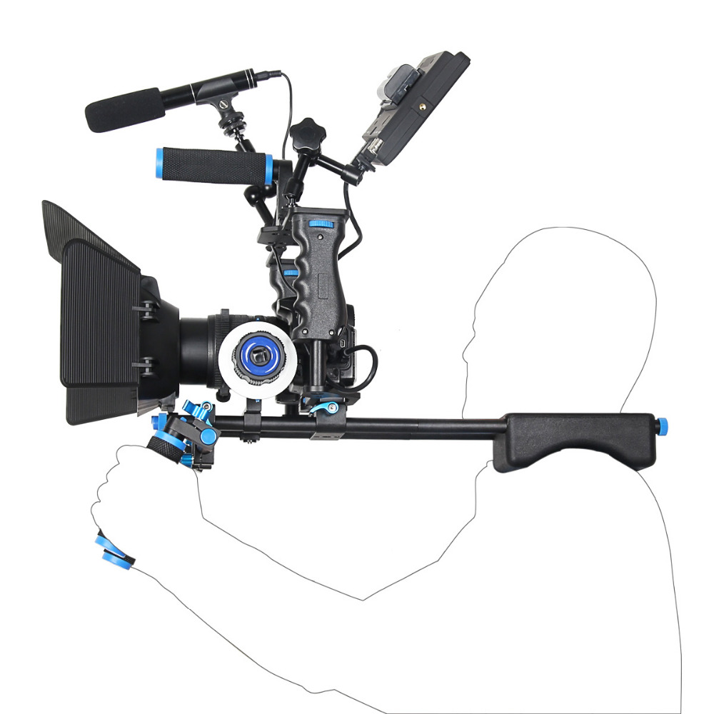 YELANGU DSLR Rig Video Stabilizer Kit Film Equipment Matte Box+Cage+Shoulder Mount +Follow Focus for DSLR Camera Camcorder-in Photo Studio Accessories from Consumer Electronics    3