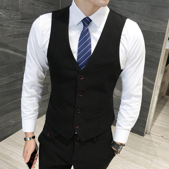 Британский Жилет Жилет Моды для Мужчин Одной Грудью Уменьшают подходящий Формальные Одежда Мужчины Платье Костюм Жилет Случайные Рукавов Твердых Жилет 5XL-M