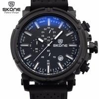 SKONE Date Silicone Strap Men Watch Analog Quartz Watch Casual Sport Watches Male Military Watch Relogio