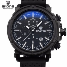 Reloj Hombre 2017 SKONE Mode Chronographe Sport Mens Montres Haut Marque De Luxe Militaire Montre À Quartz Horloge Relogio Masculino