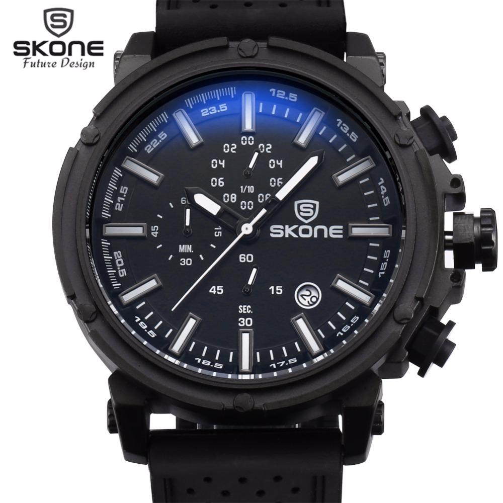 Prix pour Reloj Hombre 2017 SKONE Mode Chronographe Sport Mens Montres Haut Marque De Luxe Militaire Montre À Quartz Horloge Relogio Masculino