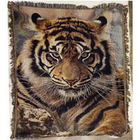 King of the forest Siberian tiger Tapestry Cotton thread Carpet Sofa Towel Casual Blanket New Year Retro Wall decoration