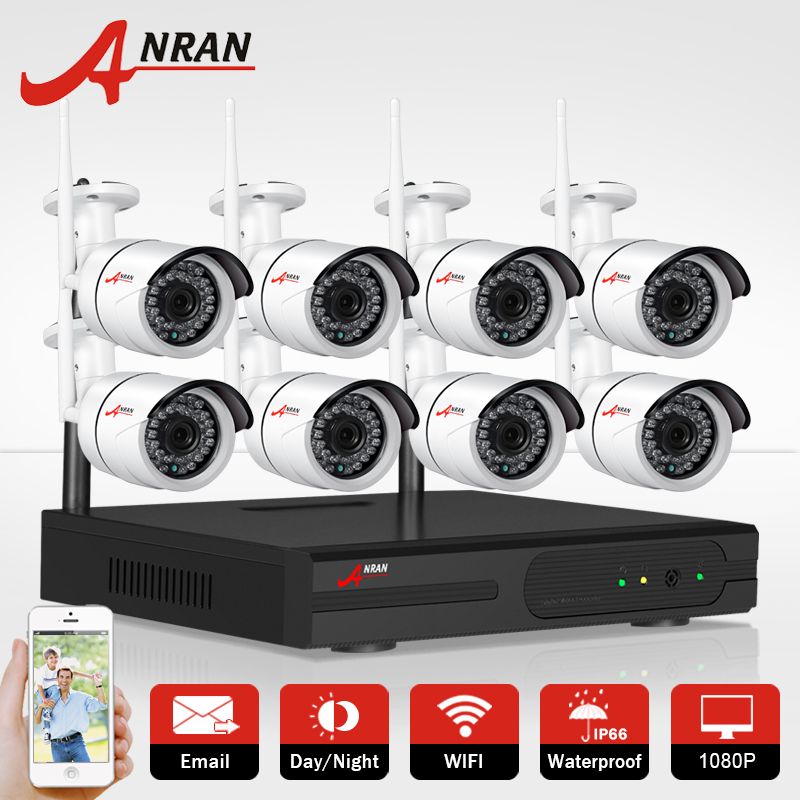 ANRAN 8CH Wireless NVR CCTV System P2P 1080P IP Camera WIFI Waterproof IR Night Vision Home