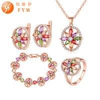 FYM 4 Pcs Sets Bridal Jewelry Set For Women Hollow Flower Colorful Zircon Wedding Jewelry Sets