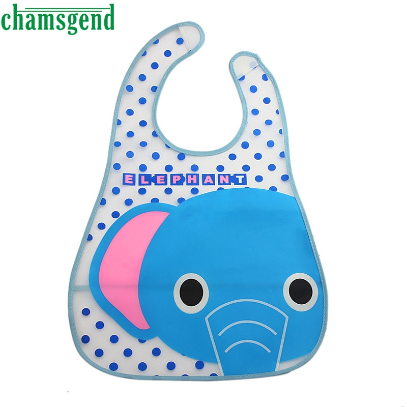 CHAMSGEND EVA Kids Child Cartoon Translucent Plastic Soft Baby Waterproof Bibs drop shipping p30 apr6