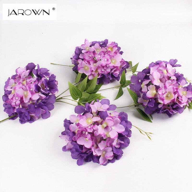 Luxusní Umělé hedvábí Hydrangea Květina Head 15cm pro DIY Svatební zeď Flore Party Domácí příslušenství Dekorace Flower 20colors