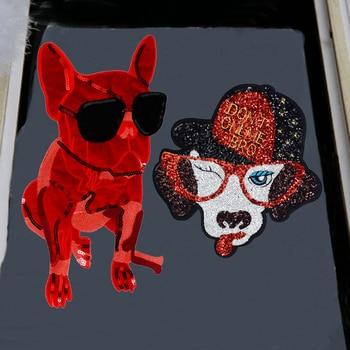 1 pieza nueva Paillette perro gafas parche lentejuelas apliques ropa DIY mochila Decoración Accesorios de costura P75
