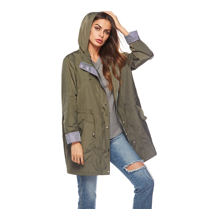 Women Hooded Waterproof Active Outdoor Windproof Lightweight Rain   Trench   Coats