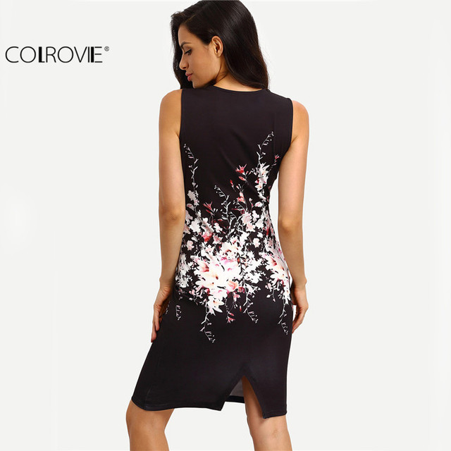 New Summer Style Bodycon Dresses Vintage Ladies Sexy Fitness Floral Print Sleeveless Crew Neck Dress