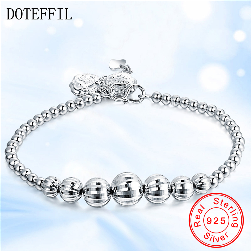 Hot 925 Sterling Silver Full Of Beads Bracelets For Women Shining Smooth Silver Charm Strand Bracelets Brand Fashion Jewelry