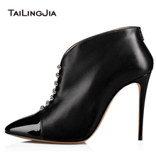 Pointed Toe High Heel Studs Ankle Boots Women Black Heeled Studded Short Booties Lady Spring Autumn Heels Shoes Large Size 2018 недорого