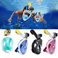 Dropshipping Panoramic Full Face Scuba Diving Mask Anti Fog Extra Comfortable&Safe Snorkeling Gear with Camera Mount + Earplugs