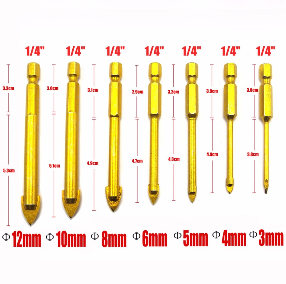 1/4 Hex Shank 3/4/5/6/8/10/12mm Titanium Coated Glass Drill Bits Set Ceramic Marble Tipped Hole Drill Tile Set for woodworking 4 pieces tungsten carbide glass drill bits for ceramic tile marble mirror 6mm 8mm 10mm 12mm
