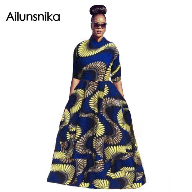 Ailunsnika 2017 new arrival hot sales primavera mulher Africano tribal estilo étnico impressão lazer grande grande saia conjuntos CM9662